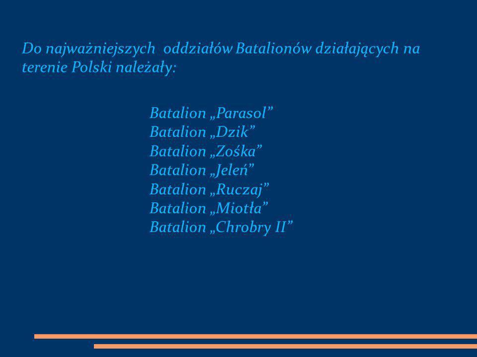 Do najważniejszych oddziałów Batalionów działających na terenie Polski należały: