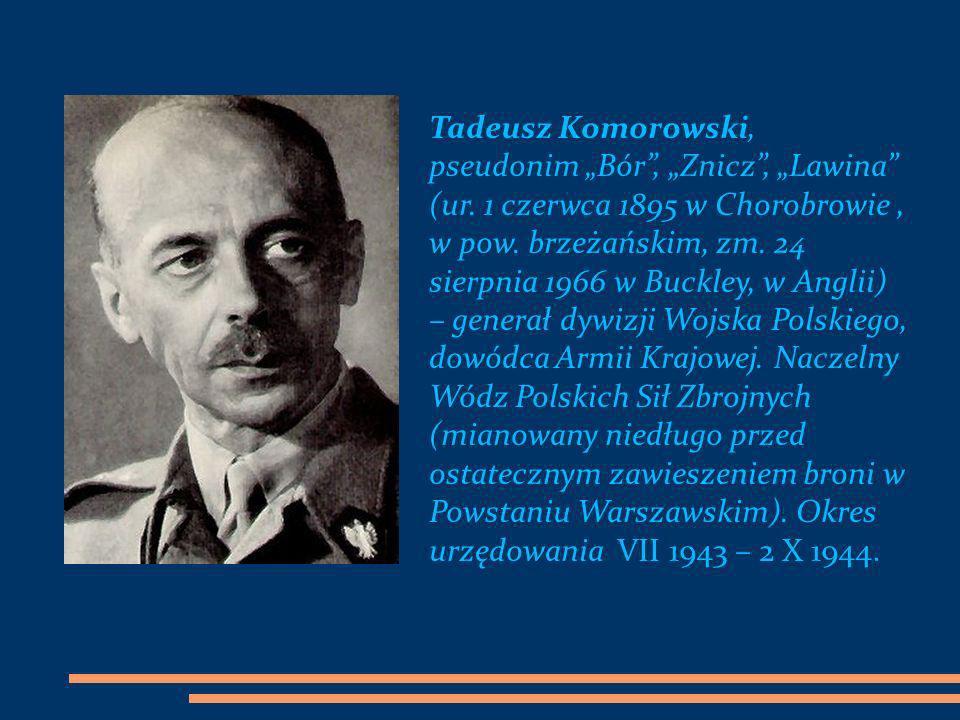 """Tadeusz Komorowski, pseudonim """"Bór , """"Znicz , """"Lawina"""