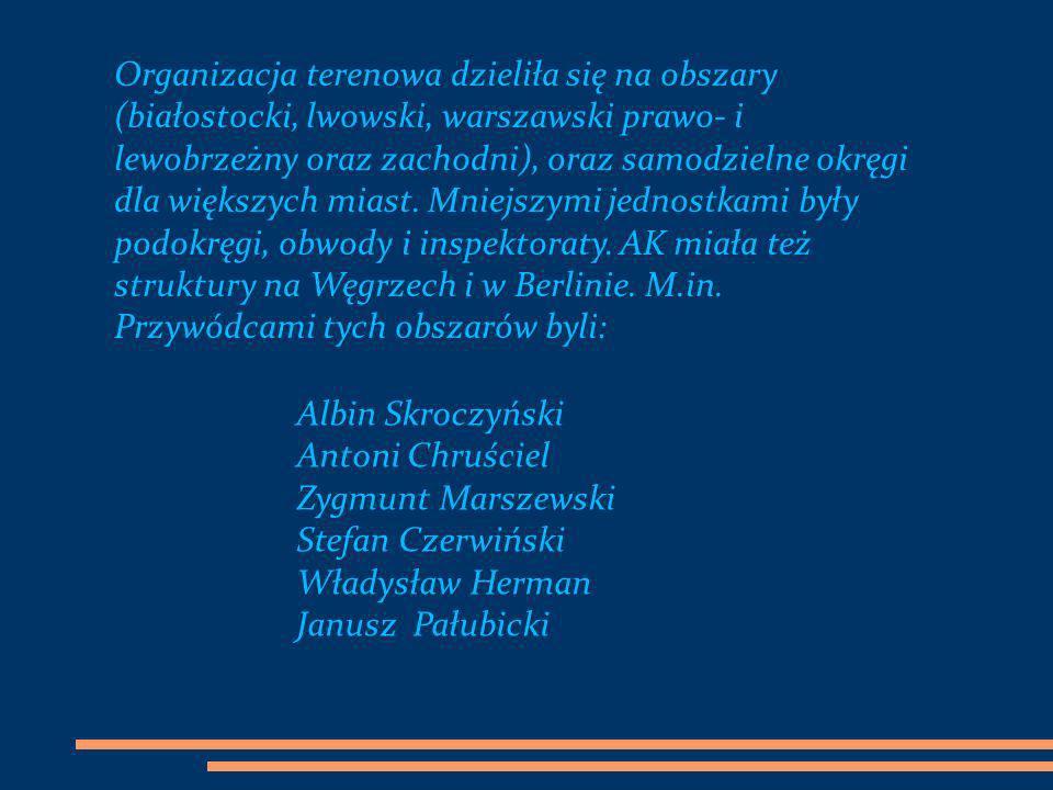 Organizacja terenowa dzieliła się na obszary (białostocki, lwowski, warszawski prawo- i lewobrzeżny oraz zachodni), oraz samodzielne okręgi dla większych miast. Mniejszymi jednostkami były podokręgi, obwody i inspektoraty. AK miała też struktury na Węgrzech i w Berlinie. M.in. Przywódcami tych obszarów byli: