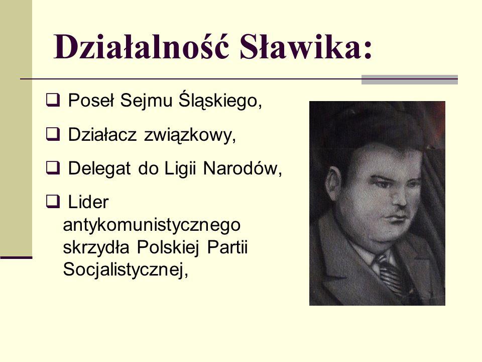 Działalność Sławika: Poseł Sejmu Śląskiego, Działacz związkowy,