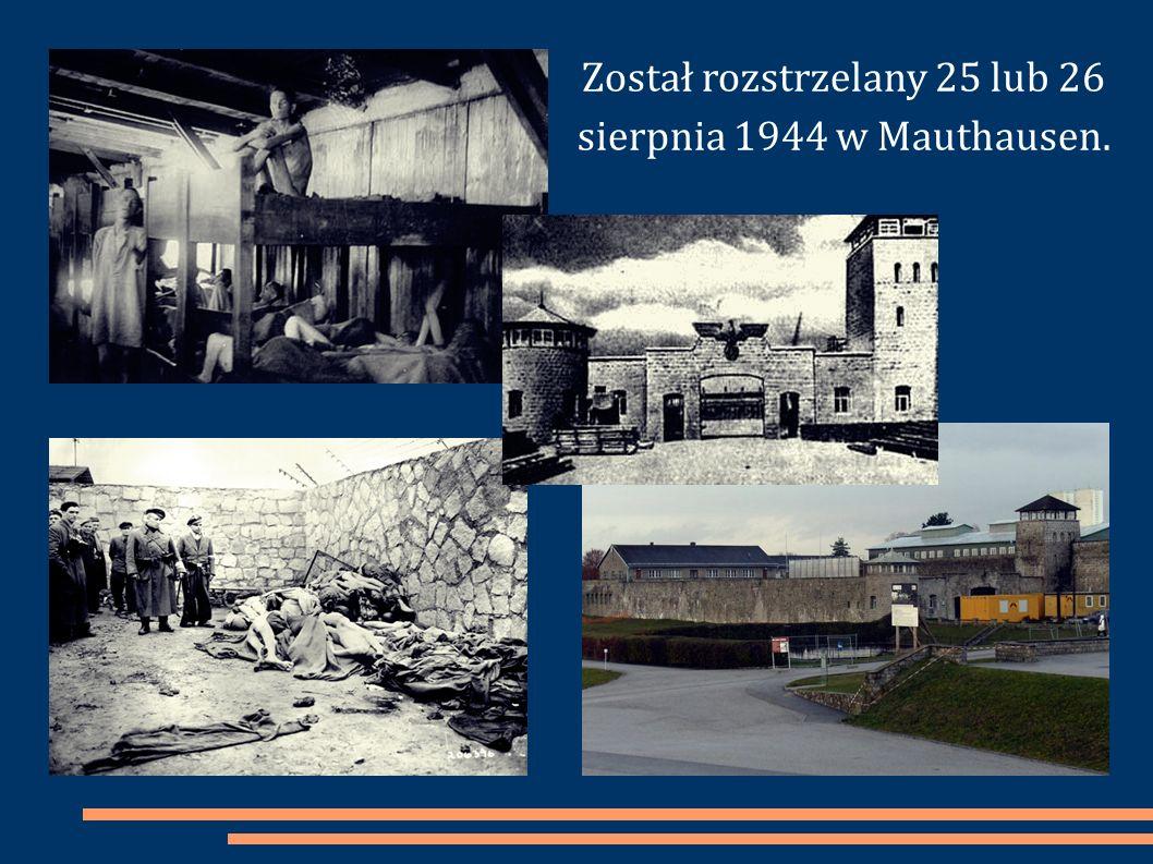 Został rozstrzelany 25 lub 26 sierpnia 1944 w Mauthausen.