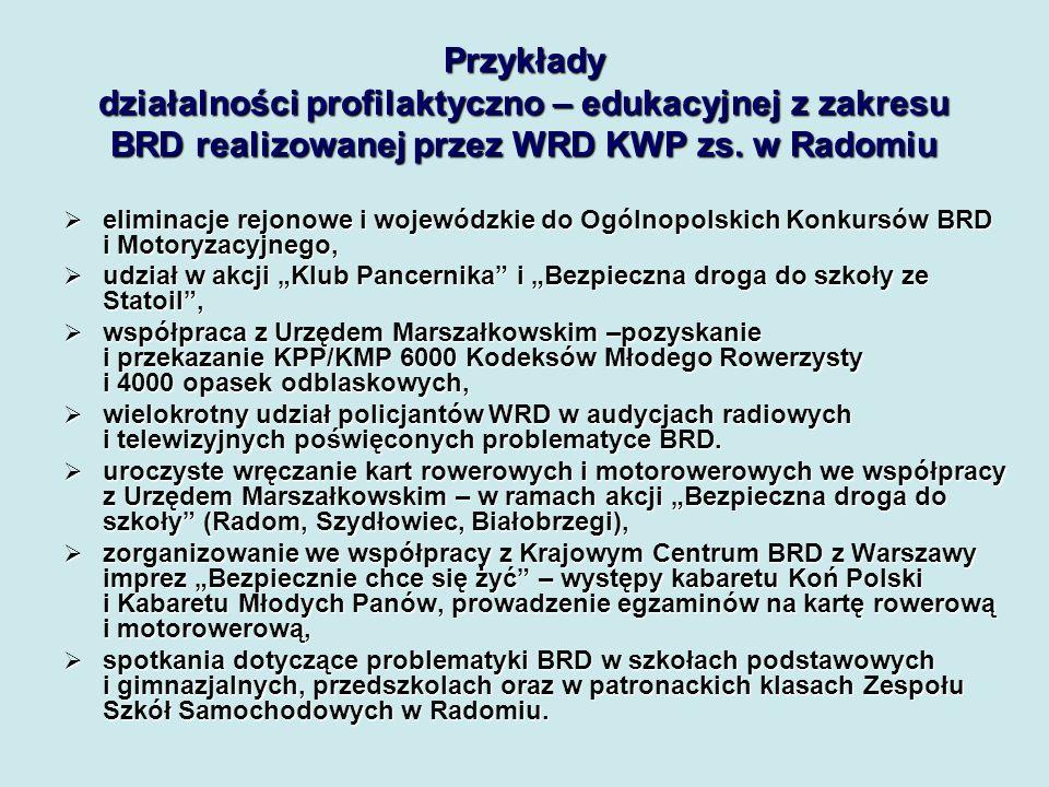 Przykłady działalności profilaktyczno – edukacyjnej z zakresu BRD realizowanej przez WRD KWP zs. w Radomiu
