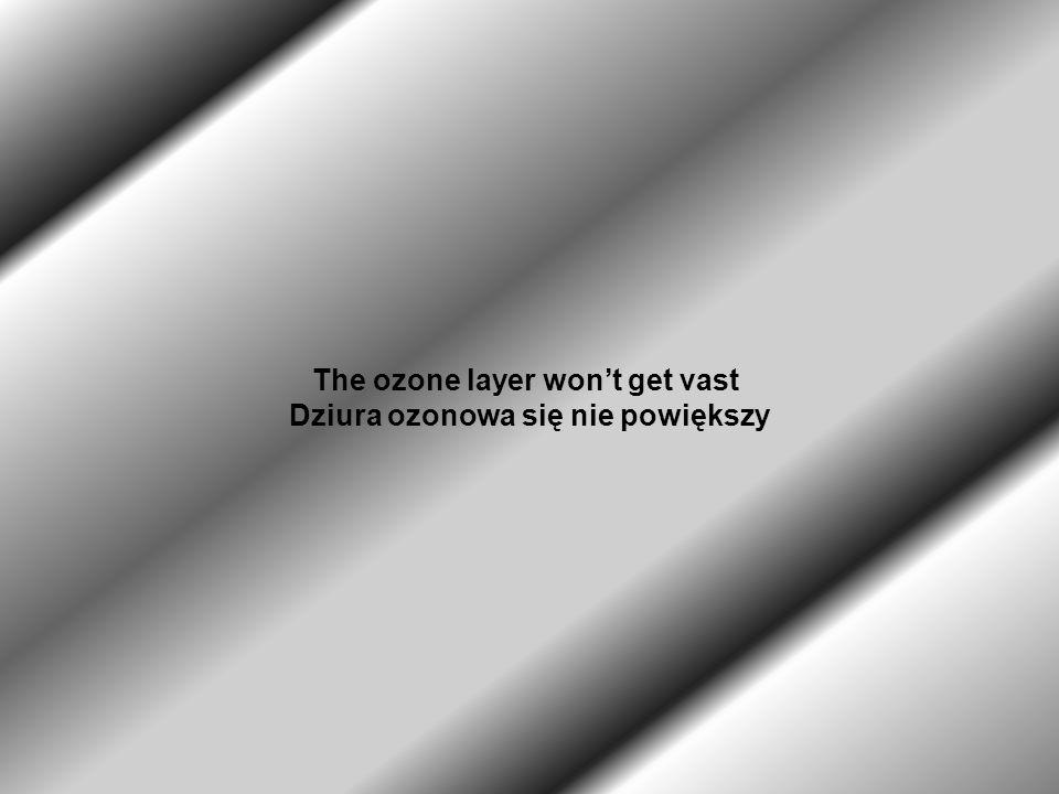 The ozone layer won't get vast Dziura ozonowa się nie powiększy