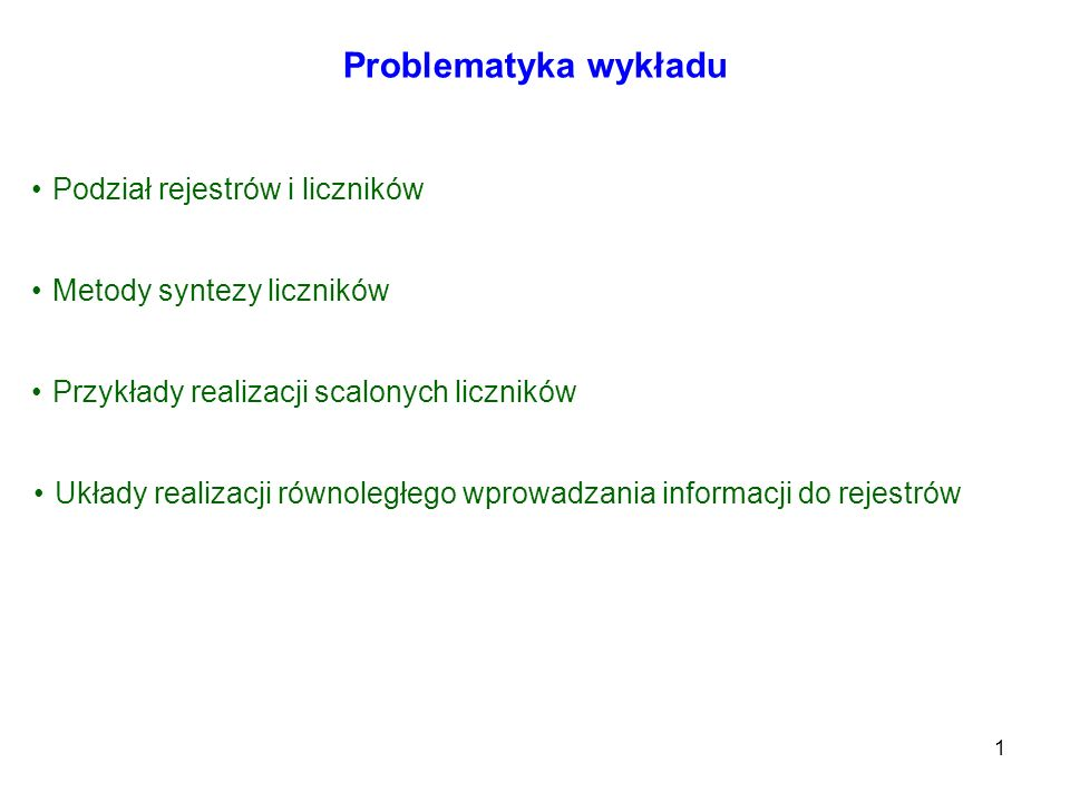 Problematyka wykładu Podział rejestrów i liczników