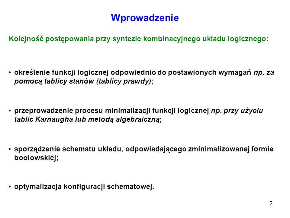 Wprowadzenie Kolejność postępowania przy syntezie kombinacyjnego układu logicznego:
