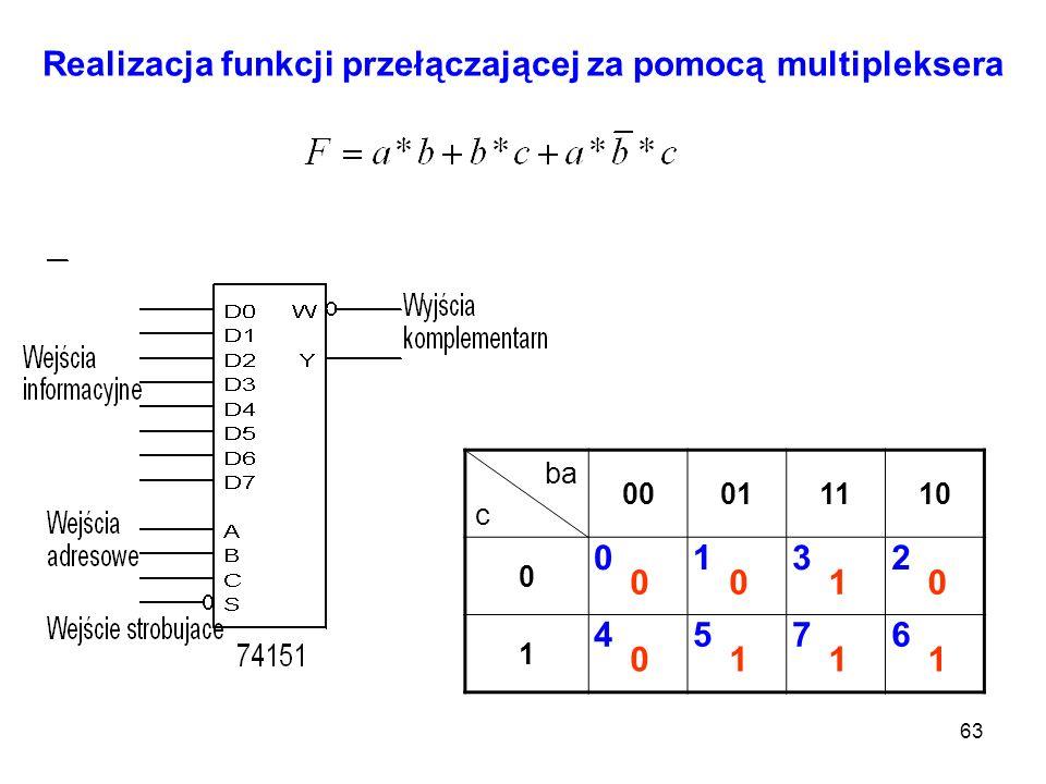Realizacja funkcji przełączającej za pomocą multipleksera