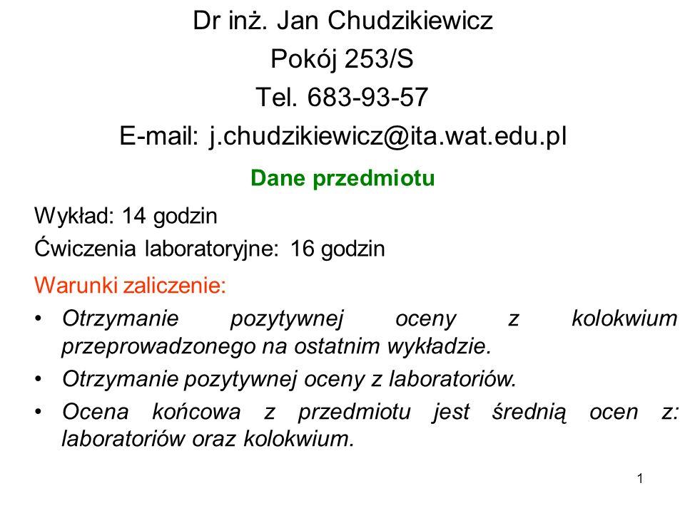 Dr inż. Jan Chudzikiewicz Pokój 253/S Tel. 683-93-57