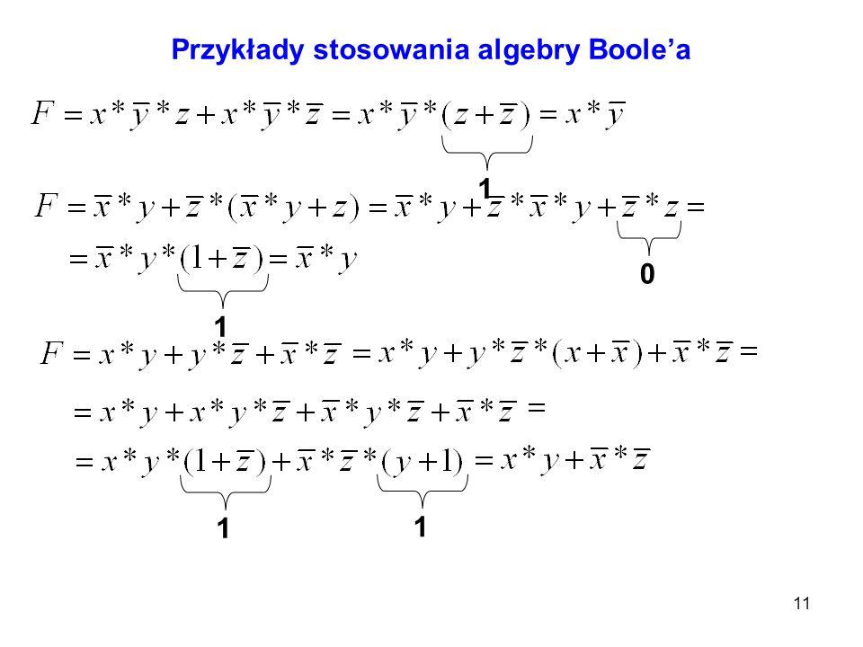 Przykłady stosowania algebry Boole'a