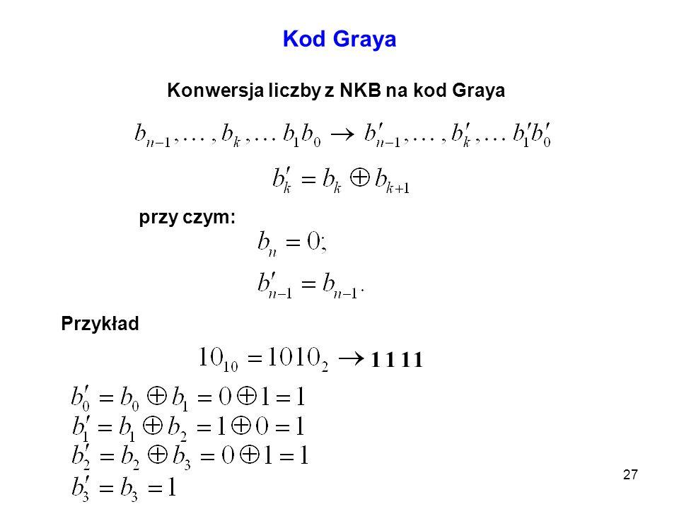 Konwersja liczby z NKB na kod Graya