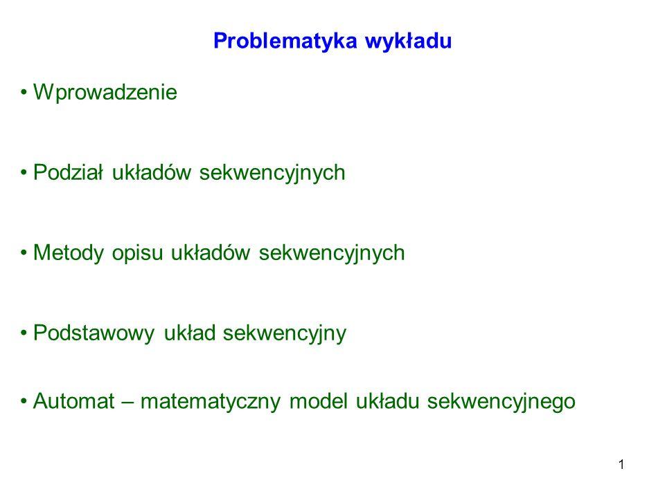 Problematyka wykładu Wprowadzenie. Podział układów sekwencyjnych. Metody opisu układów sekwencyjnych.