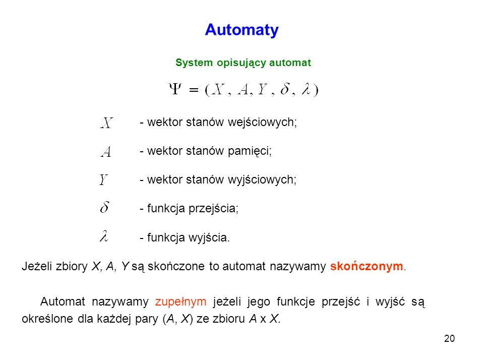 System opisujący automat