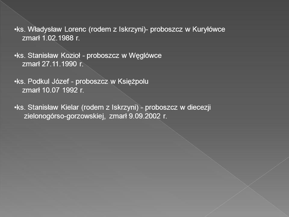 ks. Władysław Lorenc (rodem z Iskrzyni)- proboszcz w Kuryłówce zmarł 1