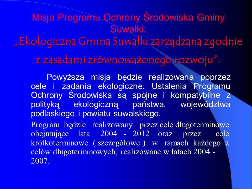 """Misja Programu Ochrony Środowiska Gminy Suwałki: """"Ekologiczna Gmina Suwałki zarządzana zgodnie z zasadami zrównoważonego rozwoju ."""