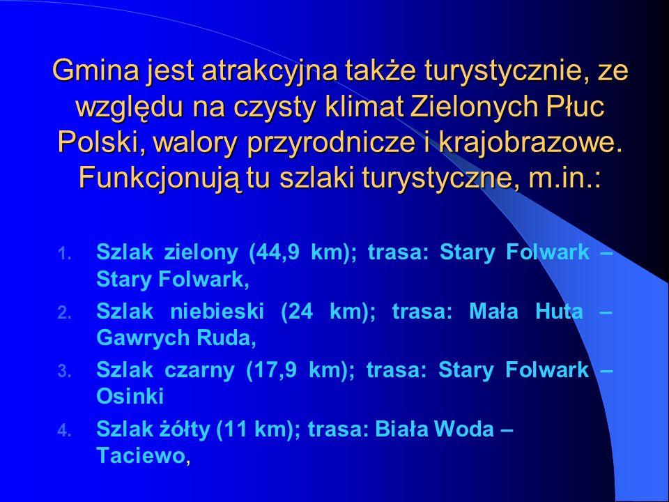 Gmina jest atrakcyjna także turystycznie, ze względu na czysty klimat Zielonych Płuc Polski, walory przyrodnicze i krajobrazowe. Funkcjonują tu szlaki turystyczne, m.in.: