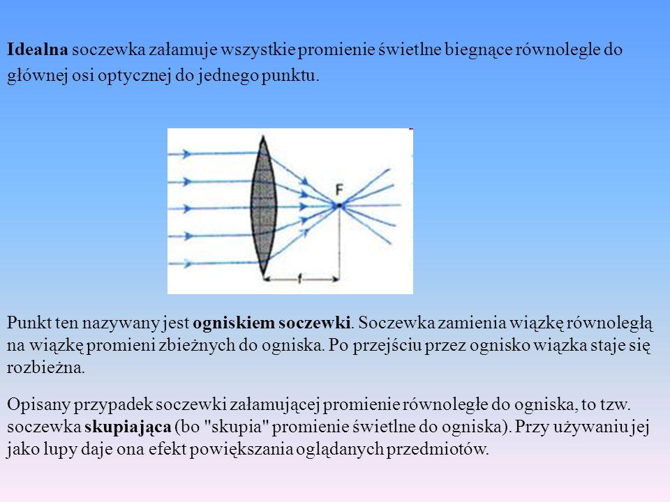 Idealna soczewka załamuje wszystkie promienie świetlne biegnące równolegle do głównej osi optycznej do jednego punktu.