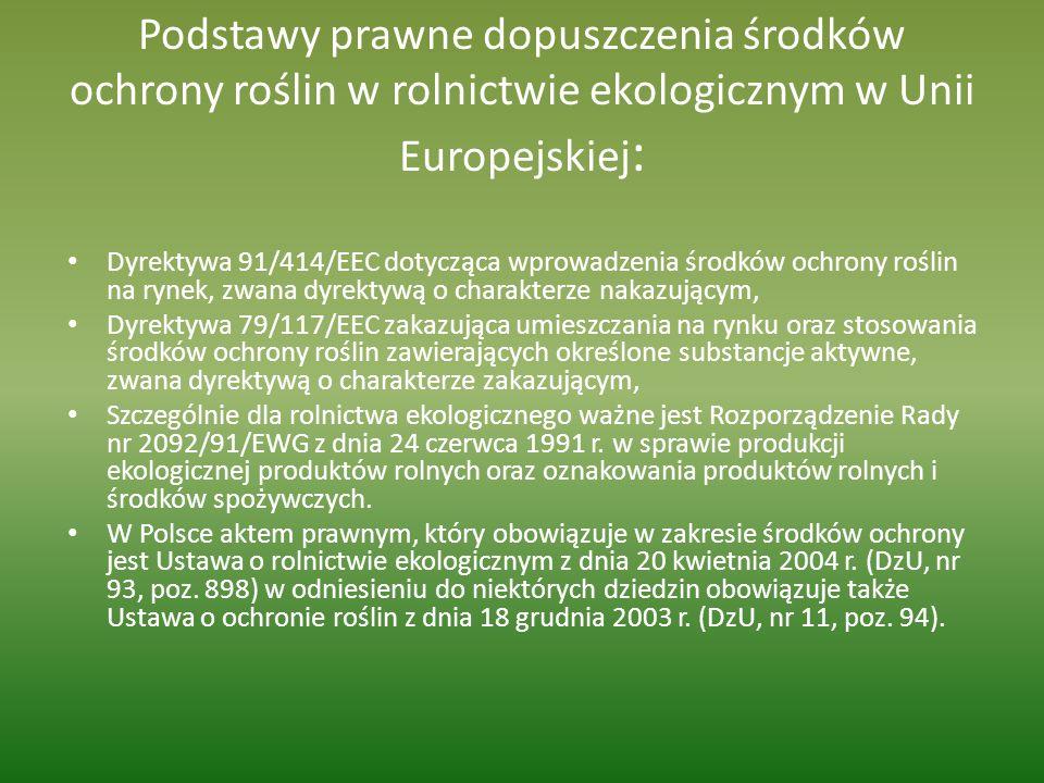 Podstawy prawne dopuszczenia środków ochrony roślin w rolnictwie ekologicznym w Unii Europejskiej:
