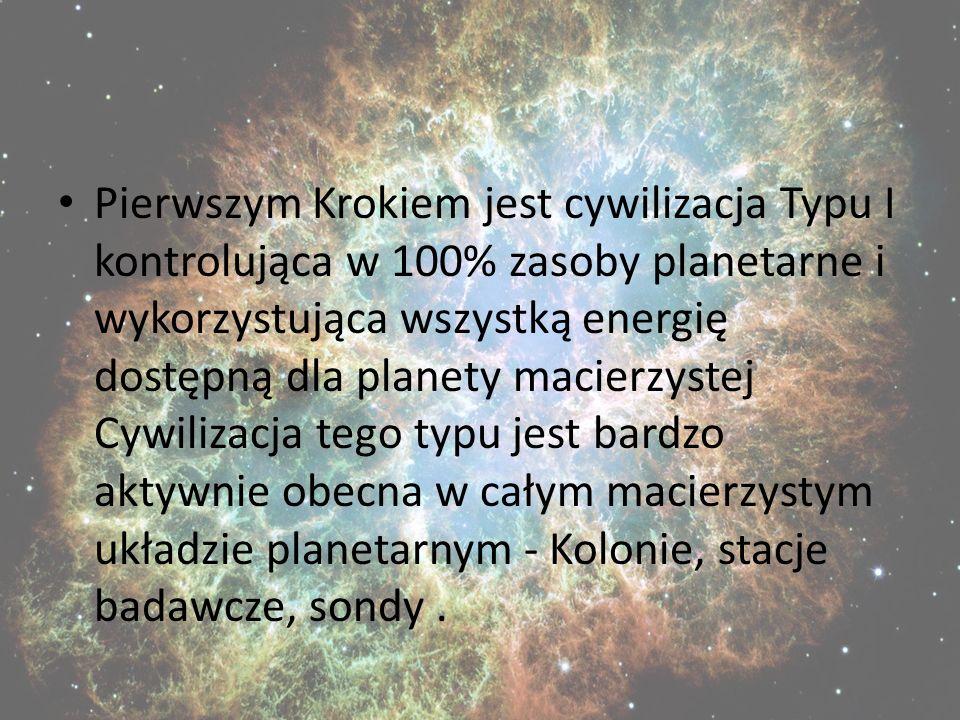 Pierwszym Krokiem jest cywilizacja Typu I kontrolująca w 100% zasoby planetarne i wykorzystująca wszystką energię dostępną dla planety macierzystej Cywilizacja tego typu jest bardzo aktywnie obecna w całym macierzystym układzie planetarnym - Kolonie, stacje badawcze, sondy .