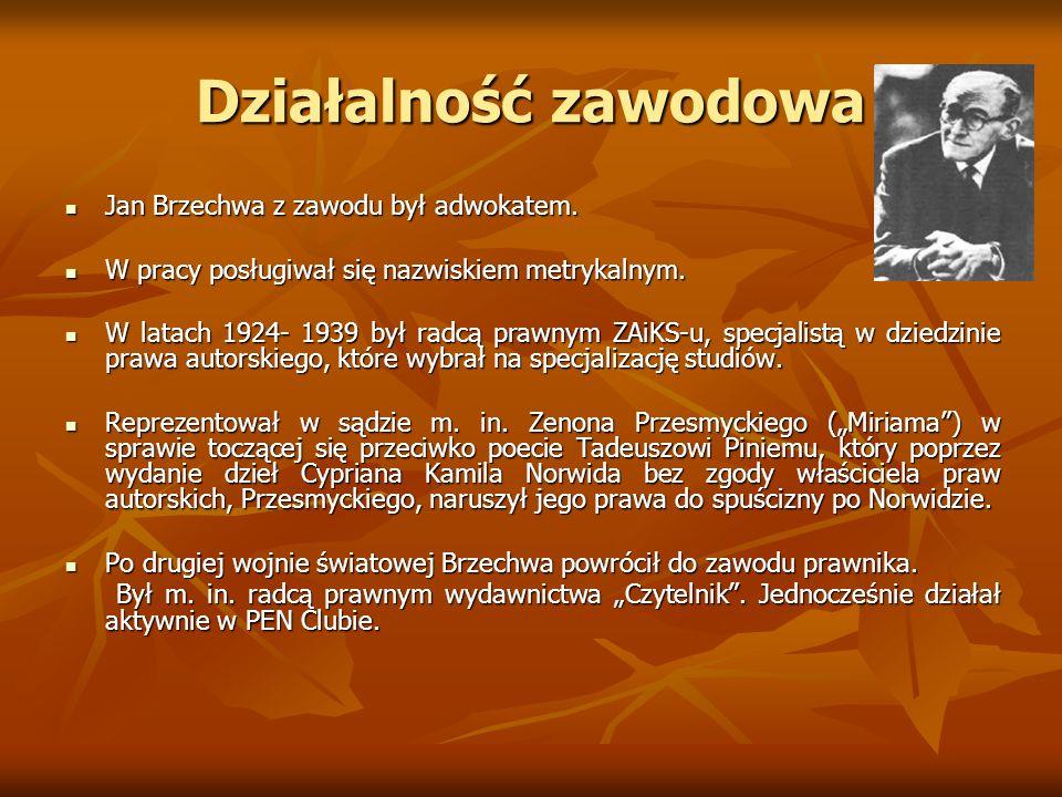 Działalność zawodowa Jan Brzechwa z zawodu był adwokatem.