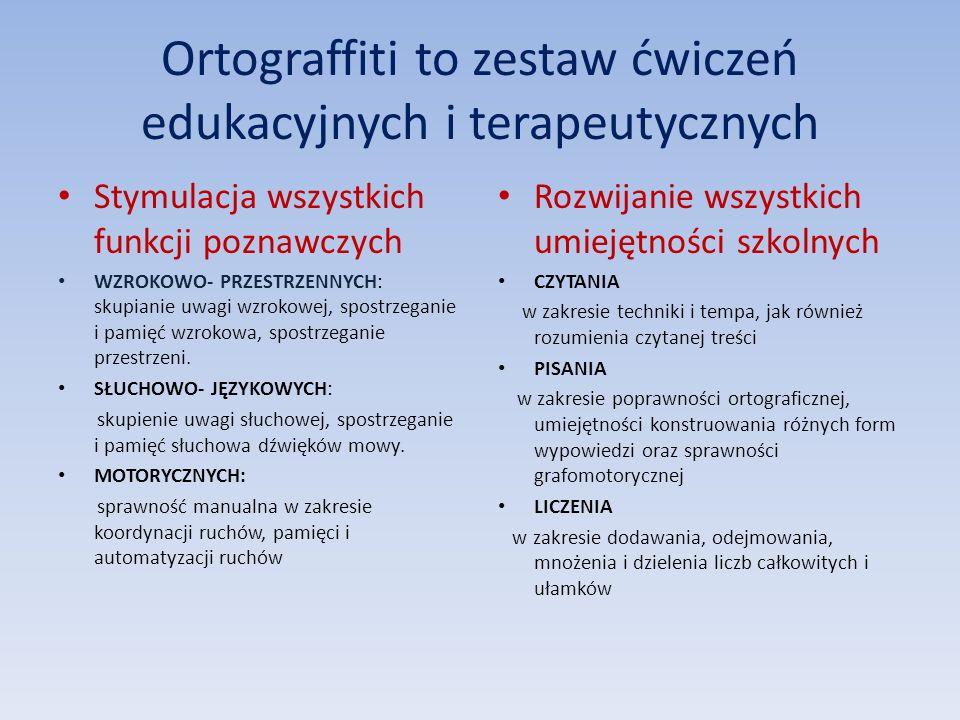 Ortograffiti to zestaw ćwiczeń edukacyjnych i terapeutycznych