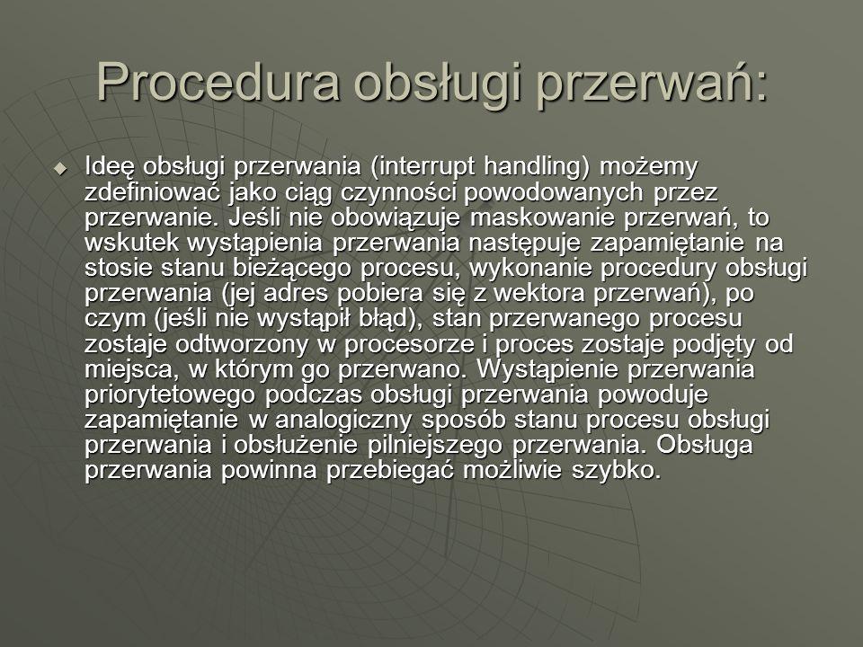 Procedura obsługi przerwań: