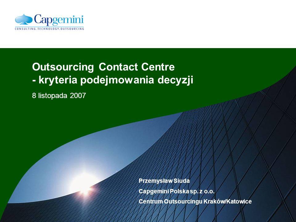 Outsourcing Contact Centre - kryteria podejmowania decyzji