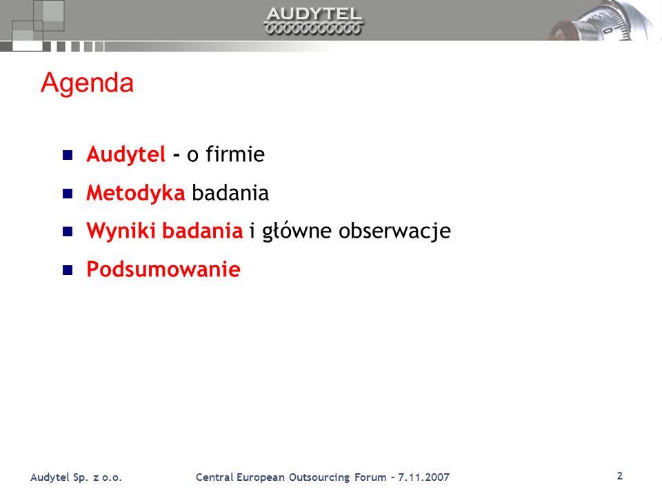 Agenda Audytel - o firmie Metodyka badania