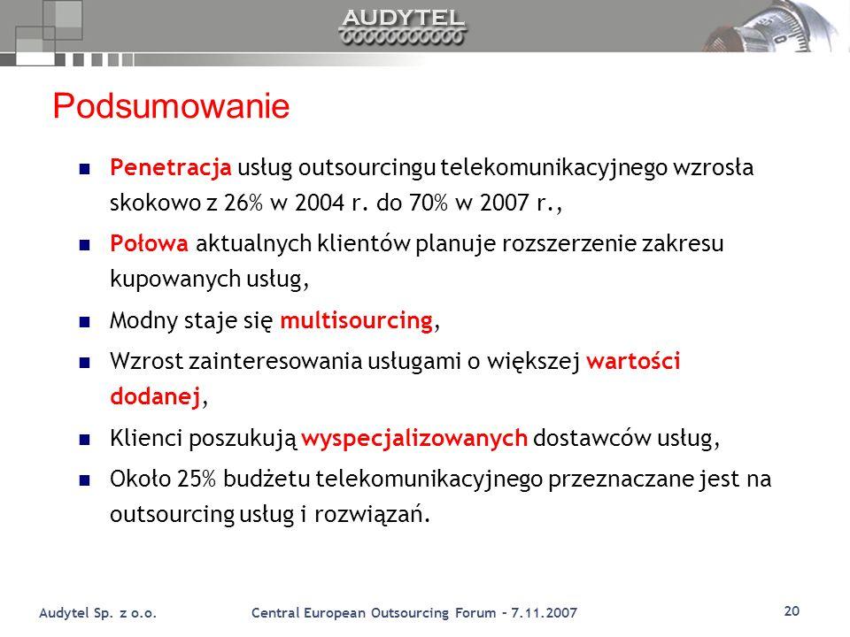 Podsumowanie Penetracja usług outsourcingu telekomunikacyjnego wzrosła skokowo z 26% w 2004 r. do 70% w 2007 r.,