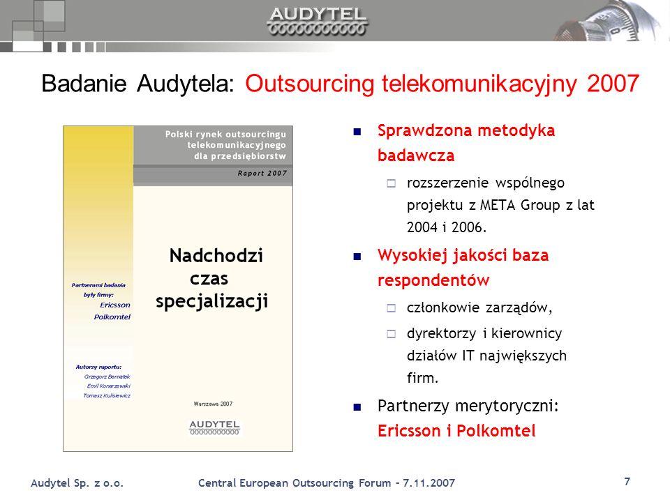 Badanie Audytela: Outsourcing telekomunikacyjny 2007
