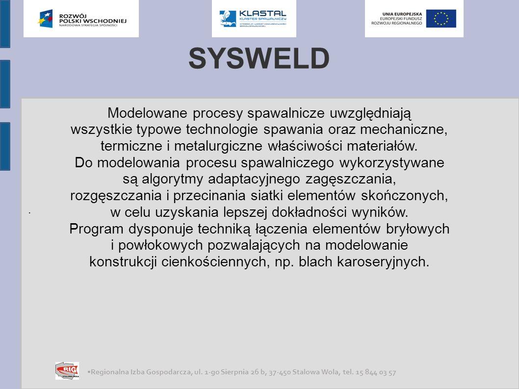 SYSWELD Modelowane procesy spawalnicze uwzględniają