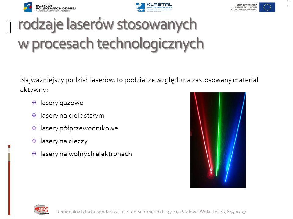 rodzaje laserów stosowanych w procesach technologicznych