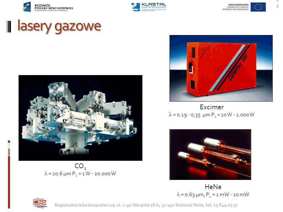 lasery gazowe Excimer CO2 HeNe  = 0.19 - 0,35 µm PL = 10 W - 1.000 W