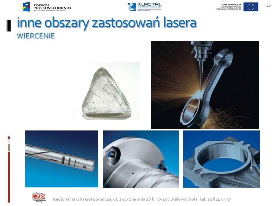 inne obszary zastosowań lasera WIERCENIE
