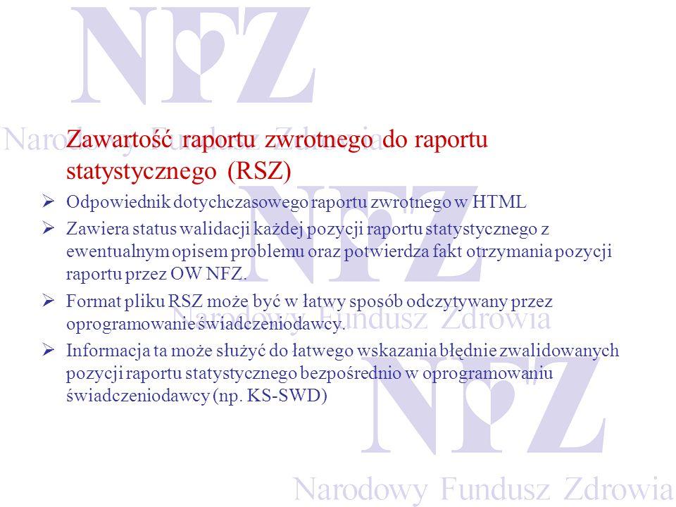 Zawartość raportu zwrotnego do raportu statystycznego (RSZ)