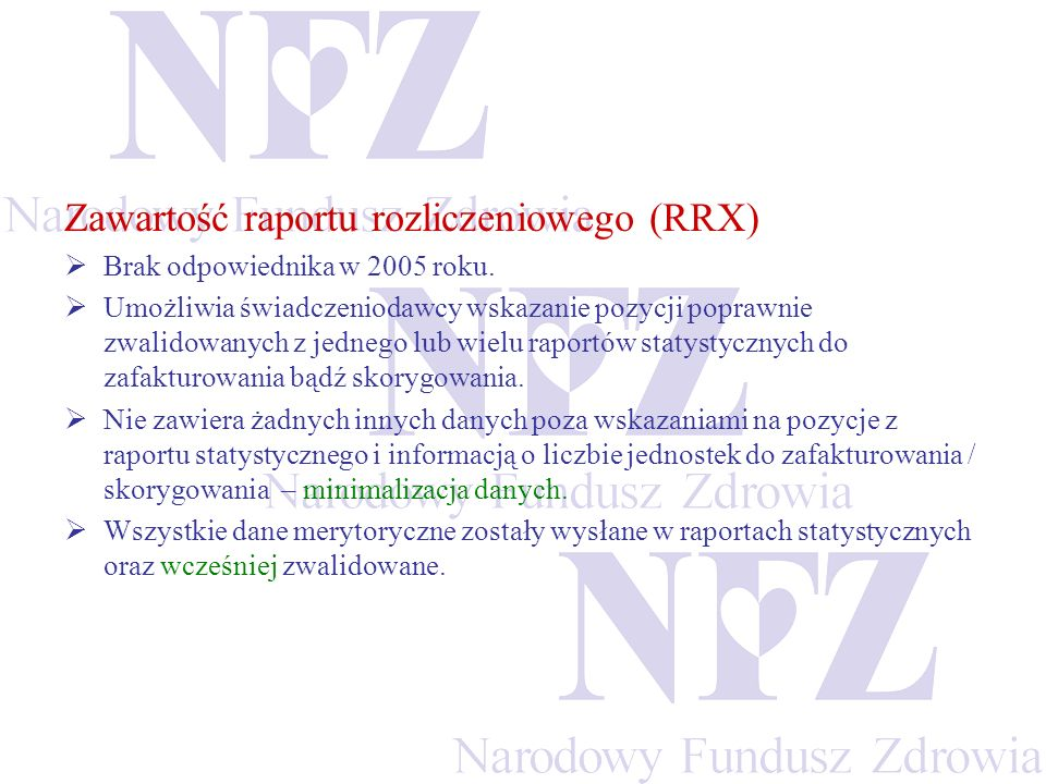 Zawartość raportu rozliczeniowego (RRX)