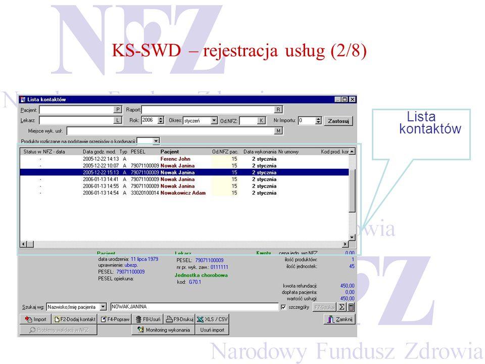 KS-SWD – rejestracja usług (2/8)
