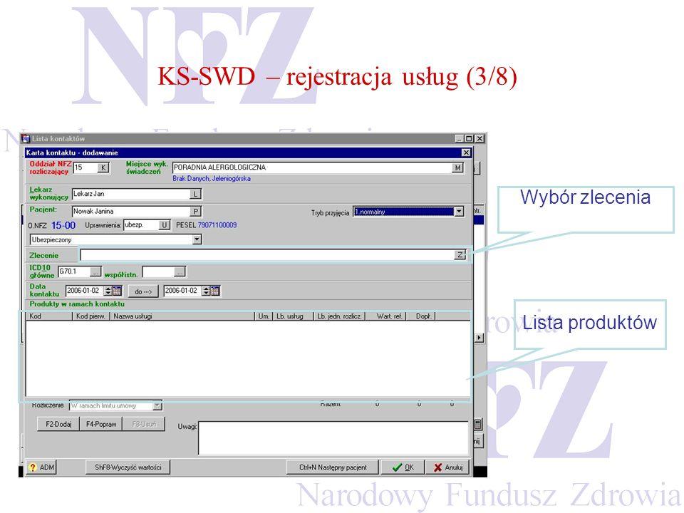 KS-SWD – rejestracja usług (3/8)