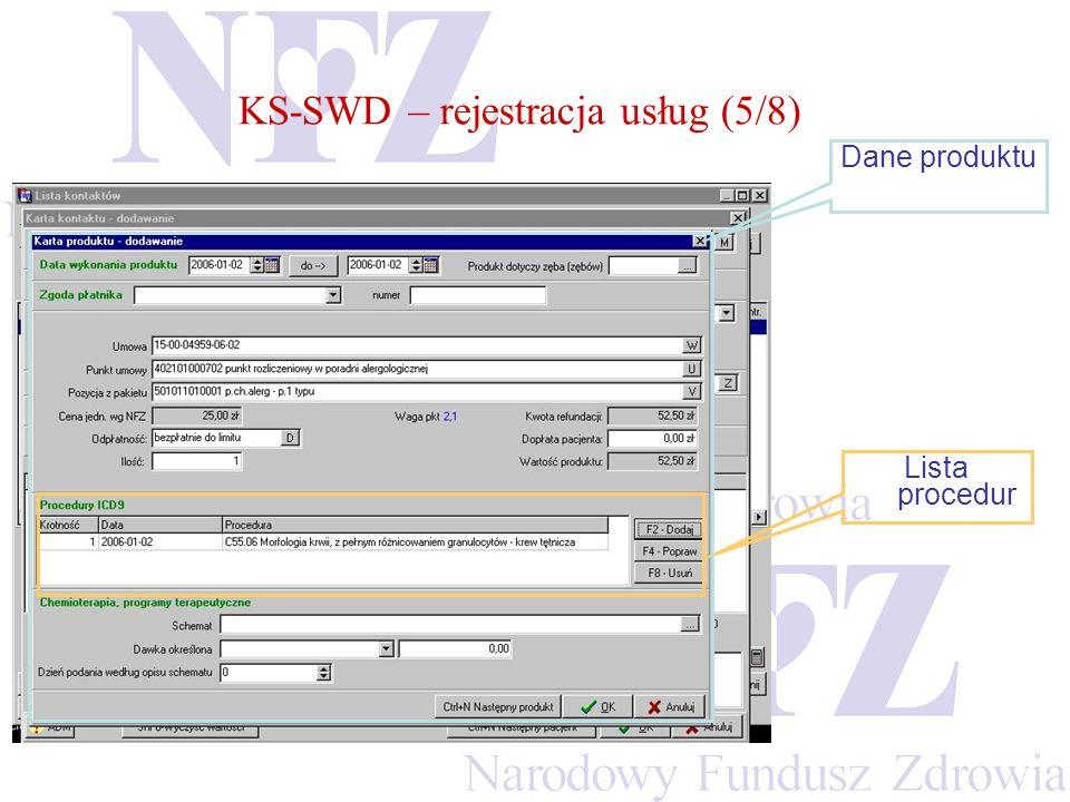 KS-SWD – rejestracja usług (5/8)