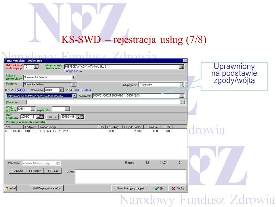 KS-SWD – rejestracja usług (7/8)
