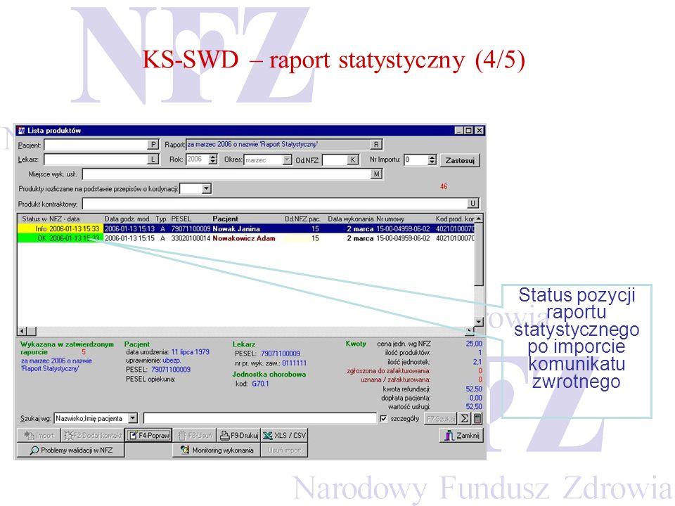 Status pozycji raportu statystycznego po imporcie komunikatu zwrotnego