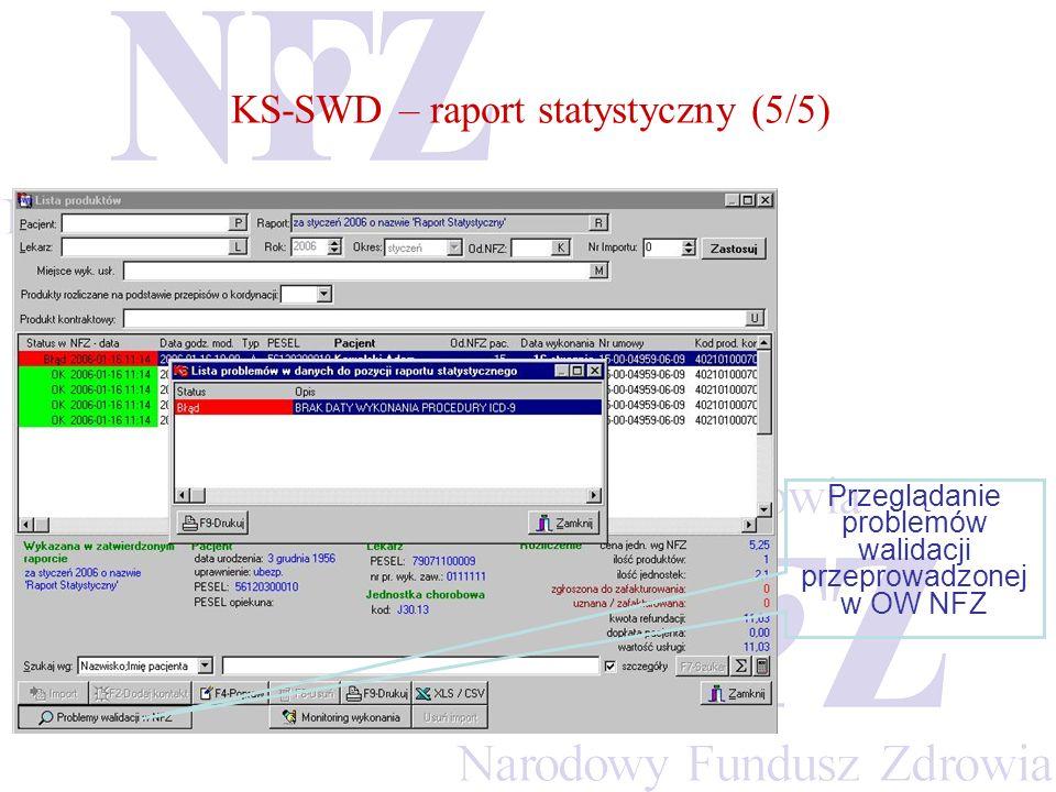 Przeglądanie problemów walidacji przeprowadzonej w OW NFZ