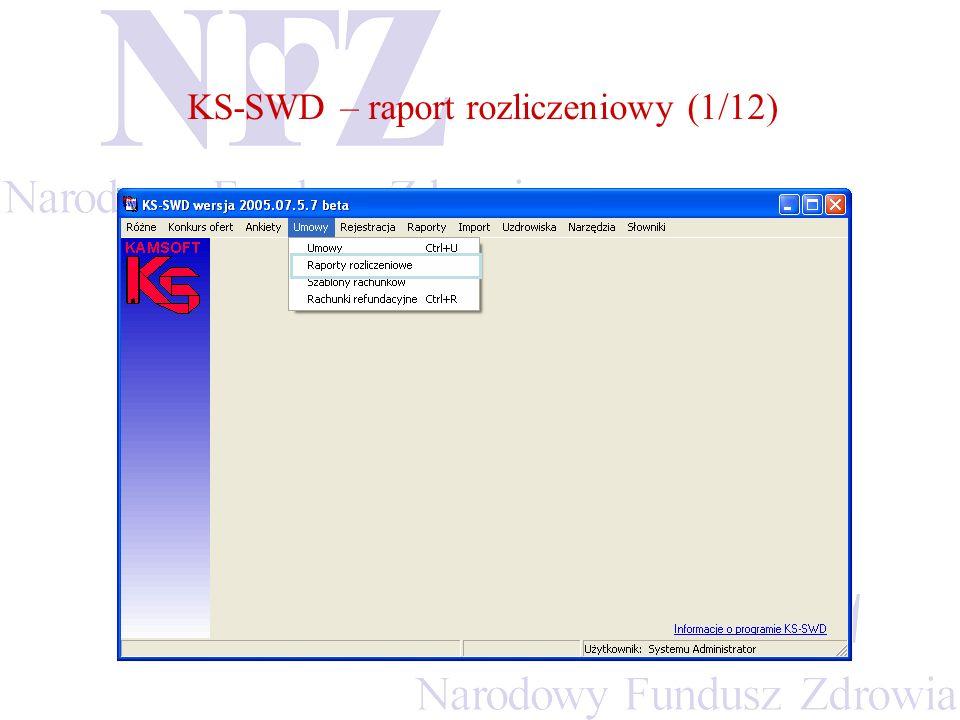 KS-SWD – raport rozliczeniowy (1/12)