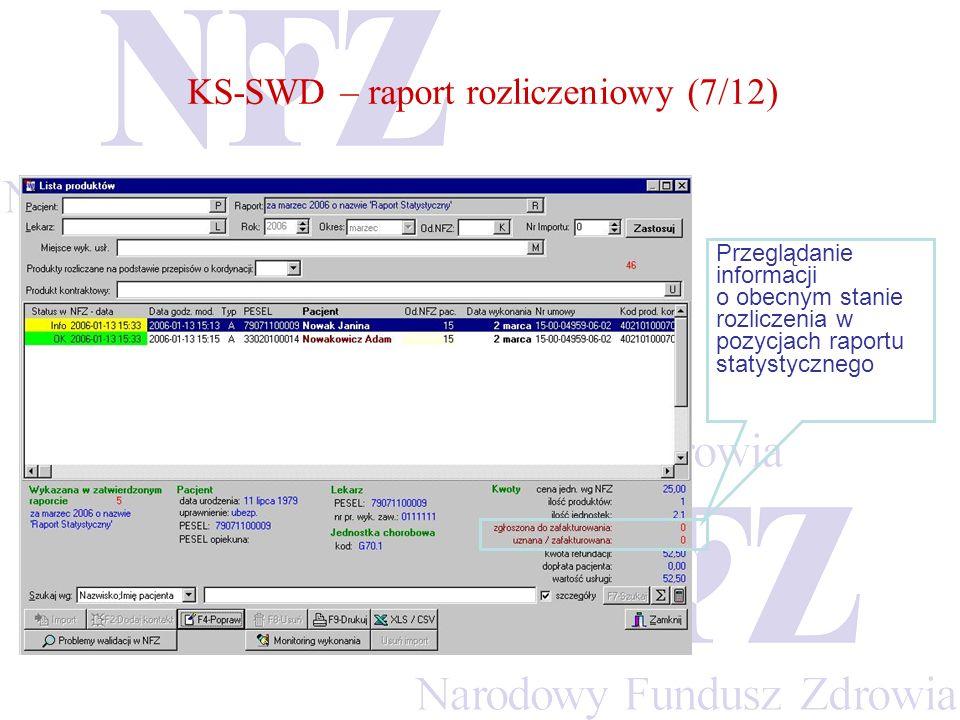 KS-SWD – raport rozliczeniowy (7/12)