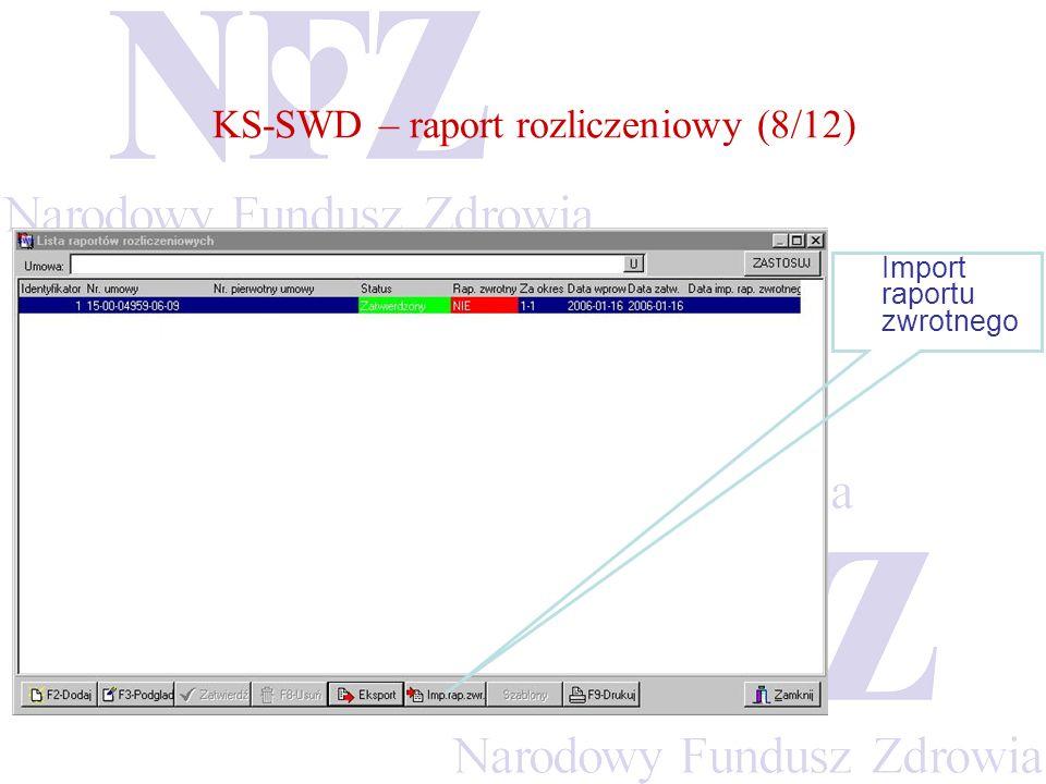KS-SWD – raport rozliczeniowy (8/12)