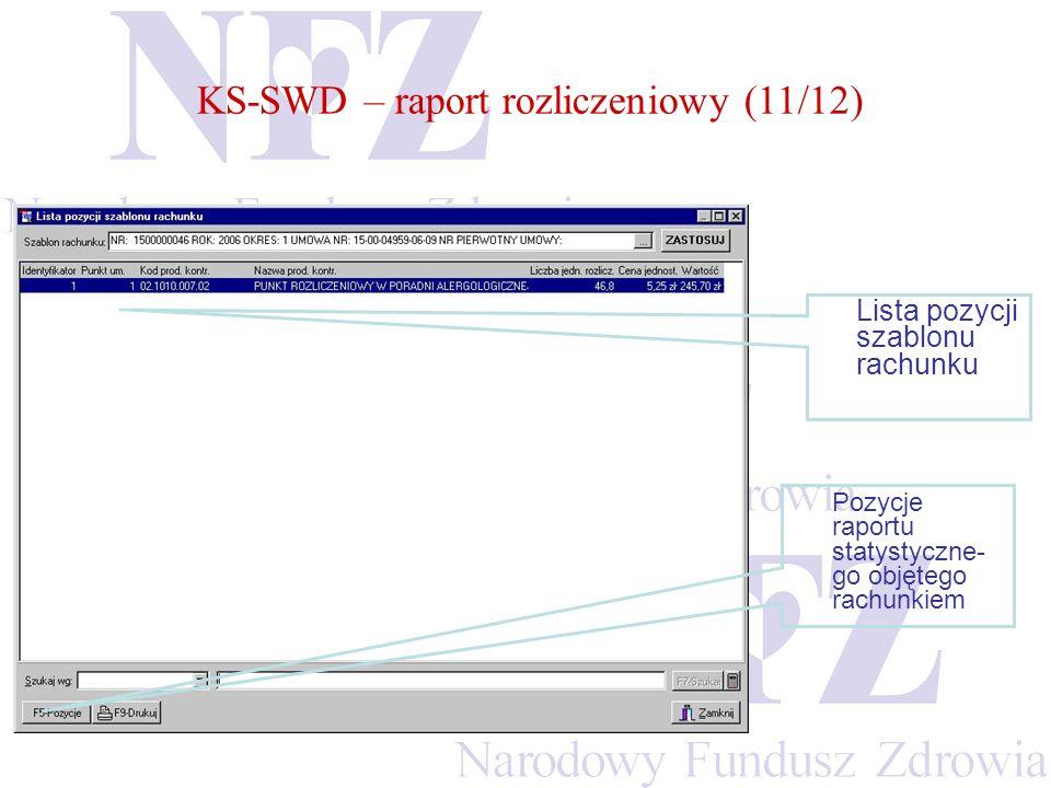 KS-SWD – raport rozliczeniowy (11/12)