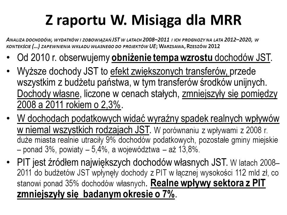 Z raportu W. Misiąga dla MRR