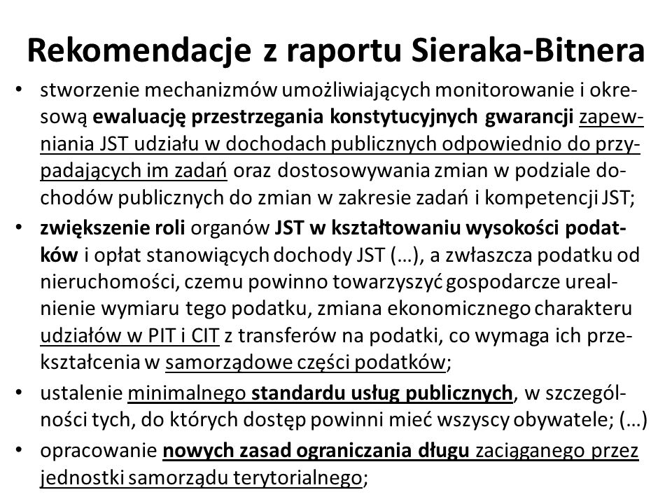 Rekomendacje z raportu Sieraka-Bitnera