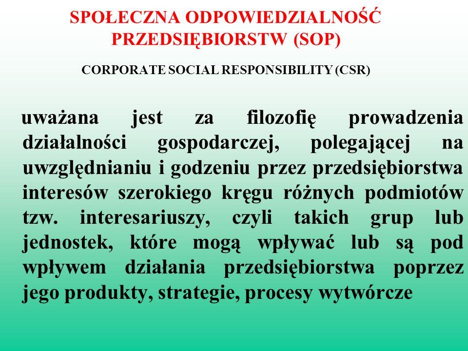 SPOŁECZNA ODPOWIEDZIALNOŚĆ PRZEDSIĘBIORSTW (SOP) CORPORATE SOCIAL RESPONSIBILITY (CSR)