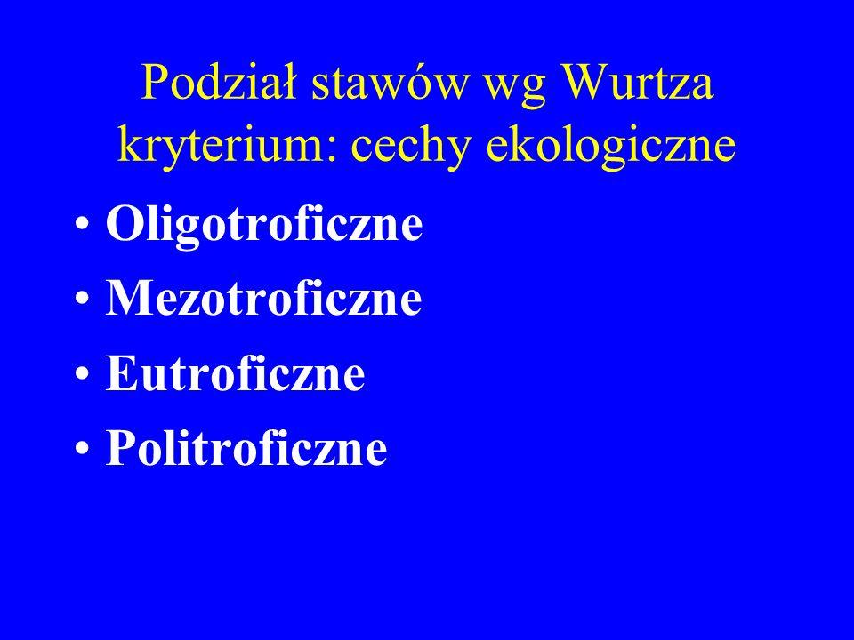 Podział stawów wg Wurtza kryterium: cechy ekologiczne