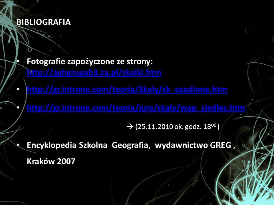 BIBLIOGRAFIA Fotografie zapożyczone ze strony: http://aghgrupab3.za.pl/skalki.htm. http://gr.introne.com/teoria/Skaly/sk_osadinne.htm.