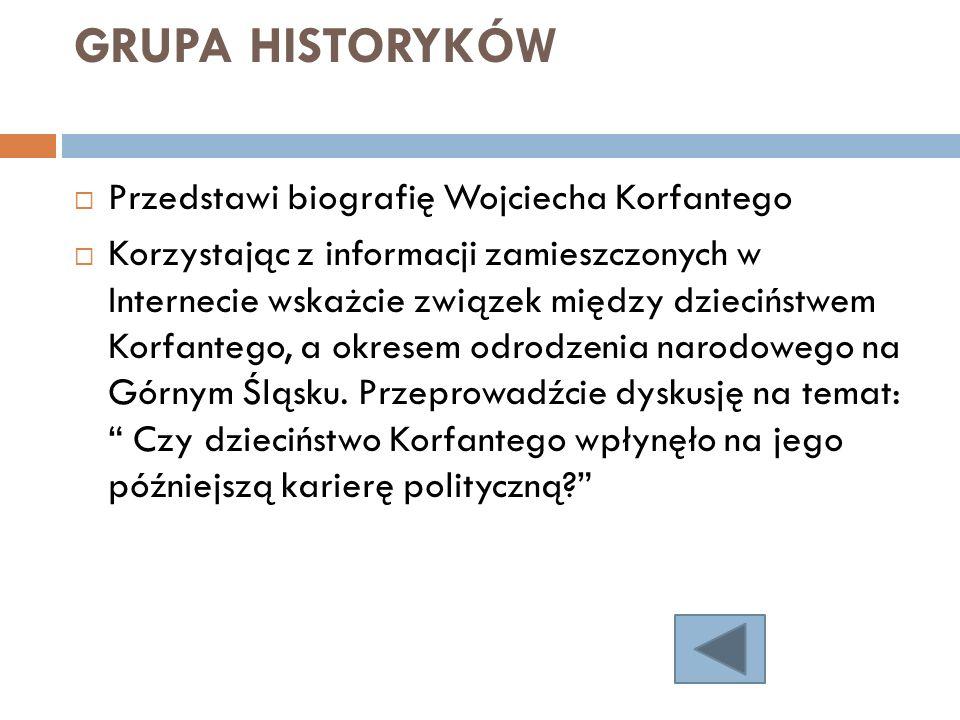 GRUPA HISTORYKÓW Przedstawi biografię Wojciecha Korfantego